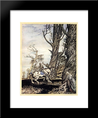 Erec Is Attacked In The Forest By A Stranger Knight:  Modern Black Framed Art Print by Arthur Rackham