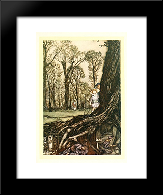 Fairies Are All More Or Less In Hiding Until Dusk:  Modern Black Framed Art Print by Arthur Rackham