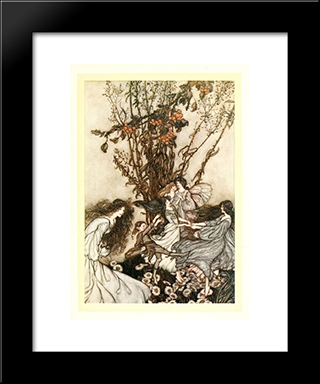 Fairies Never Say, 'We Feel Happy', What They Say Is, 'We Feel Dancey.':  Modern Black Framed Art Print by Arthur Rackham
