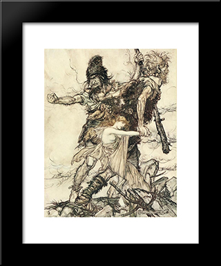 Fasolt Suddenly Seizes Freia And Drags Her To One Side With Fafner:  Modern Black Framed Art Print by Arthur Rackham