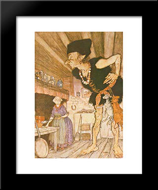 Fee-Fi-Fo-Fum, I Smell The Blood Of An Englishman:  Modern Black Framed Art Print by Arthur Rackham