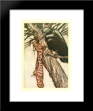 For Years He Had Been Quietly Filling His Stocking:  Modern Black Framed Art Print by Arthur Rackham