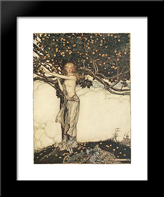 Freia, The Fair One:  Modern Black Framed Art Print by Arthur Rackham