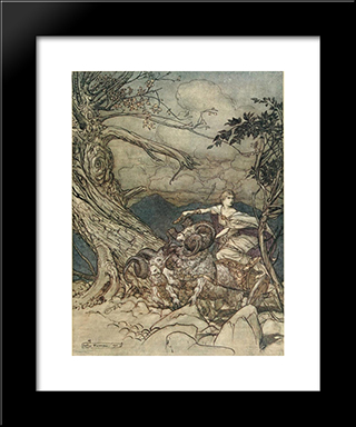Fricka Approaches In Anger:  Modern Black Framed Art Print by Arthur Rackham