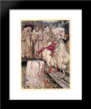 Galahad Draws The Sword From The Floating Stone:  Modern Black Framed Art Print by Arthur Rackham