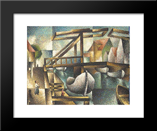 Die Brucke In Rugenwaldermunde:  Modern Black Framed Art Print by Arthur Segal