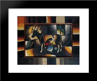 Die Melkerin:  Modern Black Framed Art Print by Arthur Segal