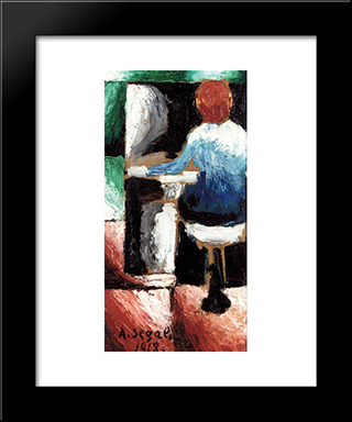 Femme Au Piano:  Modern Black Framed Art Print by Arthur Segal