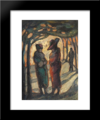 Figures In A Wooded Park:  Modern Black Framed Art Print by Arthur Segal