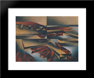 Harbour On Bornholm:  Modern Black Framed Art Print by Arthur Segal