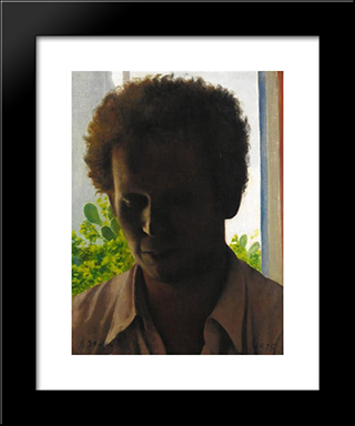 Portrait Of A Man Against The Light:  Modern Black Framed Art Print by Arthur Segal