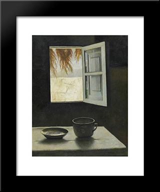 Still Life And A Window:  Modern Black Framed Art Print by Arthur Segal