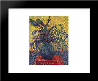 Still Life Of Flowers:  Modern Black Framed Art Print by Arthur Segal