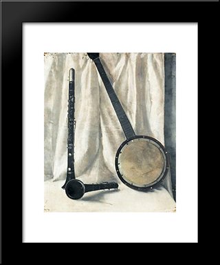 Still Life With Banjo And Clarinette:  Modern Black Framed Art Print by Arthur Segal