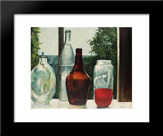 Still Life With Bottles:  Modern Black Framed Art Print by Arthur Segal