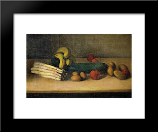 Still Life With Cucumber:  Modern Black Framed Art Print by Arthur Segal