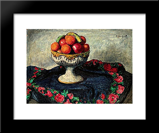 Still Life With Fruits:  Modern Black Framed Art Print by Arthur Segal