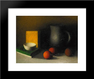 Still Life With Oranges:  Modern Black Framed Art Print by Arthur Segal