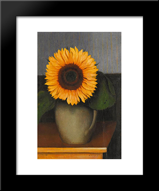 Still Life With Sunflower:  Modern Black Framed Art Print by Arthur Segal