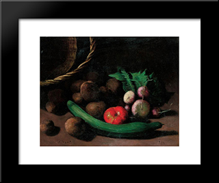 Still Life With Vegetables:  Modern Black Framed Art Print by Arthur Segal