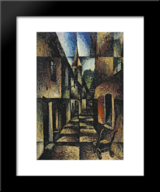 Street With Church:  Modern Black Framed Art Print by Arthur Segal