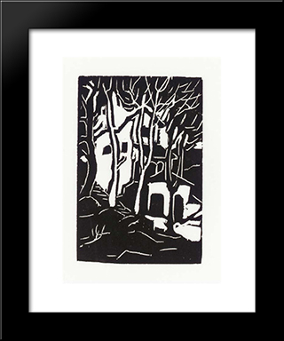 Woodcut:  Modern Black Framed Art Print by Arthur Segal