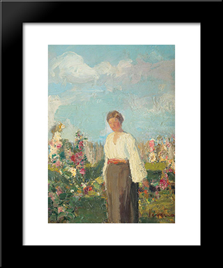 In The Garden With Flowers:  Modern Black Framed Art Print by Arthur Verona
