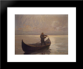Violinist In A Boat:  Modern Black Framed Art Print by Arthur Verona