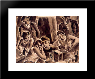 Accordionist:  Modern Black Framed Art Print by Arturo Souto