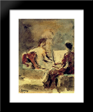 Artist And Model:  Modern Black Framed Art Print by Arturo Souto