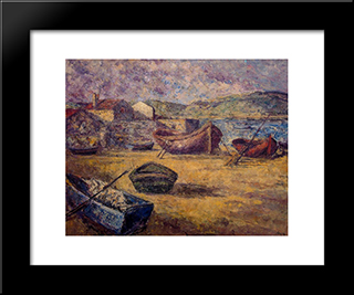 Beached Boats:  Modern Black Framed Art Print by Arturo Souto