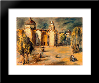 Church And Gardens Acolman, Mexico:  Modern Black Framed Art Print by Arturo Souto