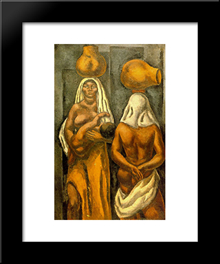 Composition (Mulattos With Pitchers):  Modern Black Framed Art Print by Arturo Souto