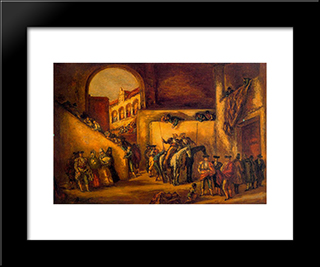 Courtyard Of A Gang Of Old Bullring In Spain:  Modern Black Framed Art Print by Arturo Souto