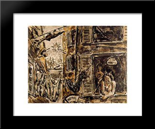Harbour Scene:  Modern Black Framed Art Print by Arturo Souto