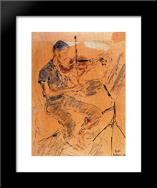 Leonel Alberu Playing The Violin:  Modern Black Framed Art Print by Arturo Souto