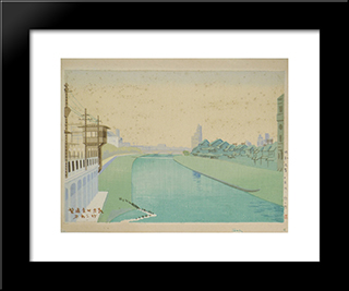 Distant View Of Shijo In The Early Morning:  Modern Black Framed Art Print by Asano Takeji