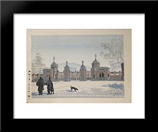 Moonlit Night At The Museum:  Modern Black Framed Art Print by Asano Takeji