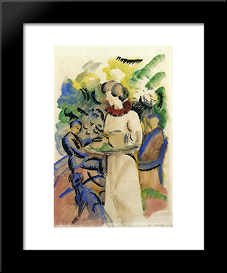 Afternoon In The Garden:  Modern Black Framed Art Print by August Macke