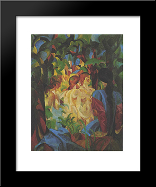 Bathing Girls With Town In The Backgraund:  Modern Black Framed Art Print by August Macke
