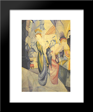 Bright Woman In Front Of A Hat Store:  Modern Black Framed Art Print by August Macke
