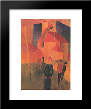 Church Decorated With Flags:  Modern Black Framed Art Print by August Macke