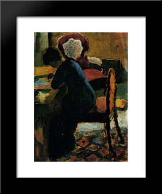 Elisabeth At The Table:  Modern Black Framed Art Print by August Macke