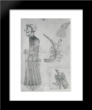 Witch With Eagle, Crocodile And Cornucopia:  Modern Black Framed Art Print by August Natterer