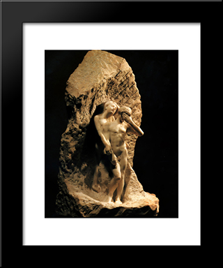 Adam And Eve Expelled From Paradise:  Modern Black Framed Art Print by Auguste Rodin