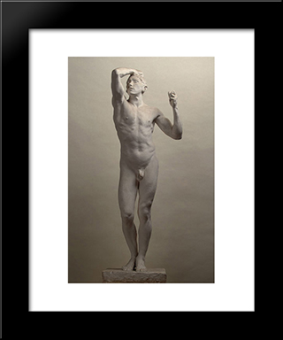 Age Of Bronze:  Modern Black Framed Art Print by Auguste Rodin