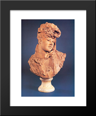 Bust Of A Smiling Woman:  Modern Black Framed Art Print by Auguste Rodin
