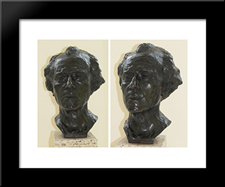 Bust Of Gustav Mahler:  Modern Black Framed Art Print by Auguste Rodin