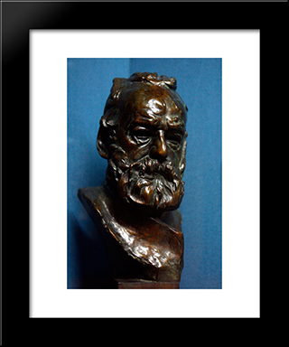 Bust Of Victor Hugo:  Modern Black Framed Art Print by Auguste Rodin