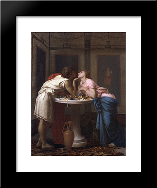 A Classical Courtship:  Modern Black Framed Art Print by Auguste Toulmouche